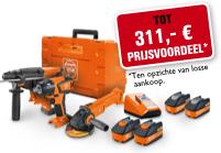 Start nu met besparen met de FEIN 18 V-accucombo's!