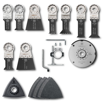 Accessory set for interior construction work with wood