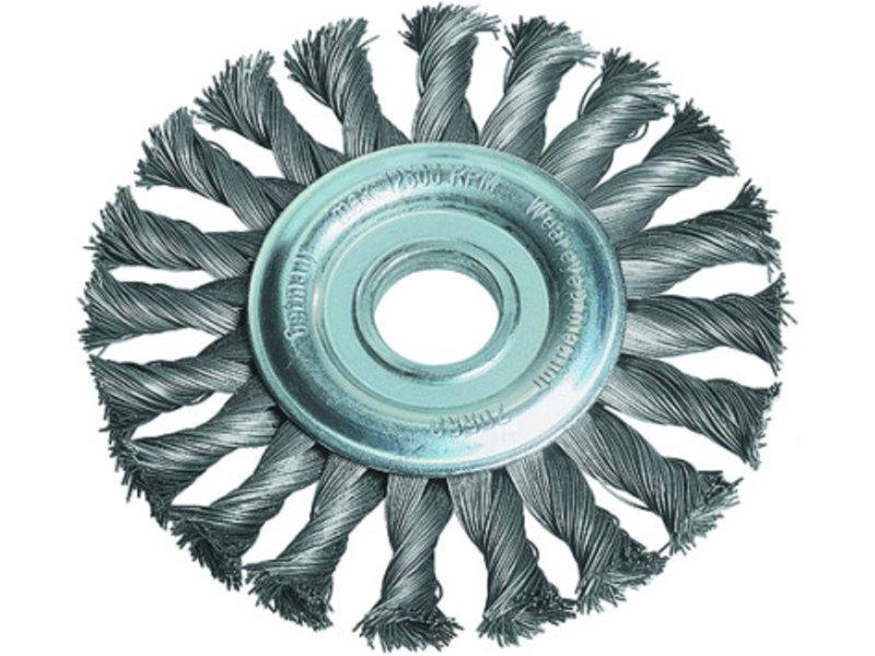 Bevelled knot-twist wire wheel